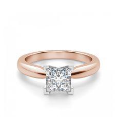 Кольцо с бриллиантом Принцесса из розового золота