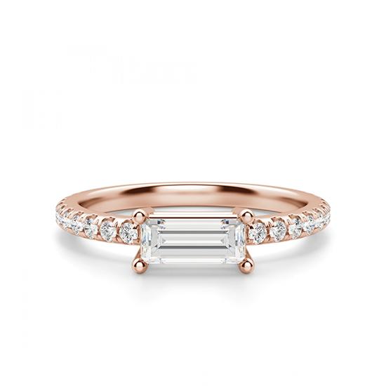 Горизонтальное золотое кольцо с бриллиантом эмеральд, Больше Изображение 1