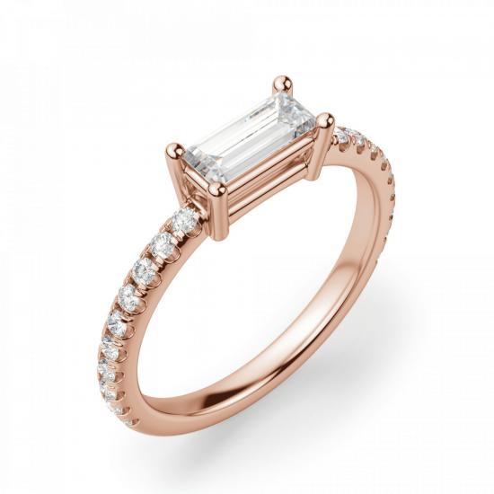 Горизонтальное золотое кольцо с бриллиантом эмеральд,  Больше Изображение 3
