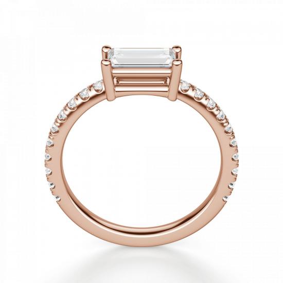 Горизонтальное золотое кольцо с бриллиантом эмеральд,  Больше Изображение 2