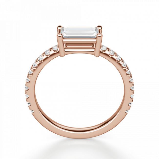 Горизонтальное золотое кольцо с бриллиантом эмеральд - Фото 1