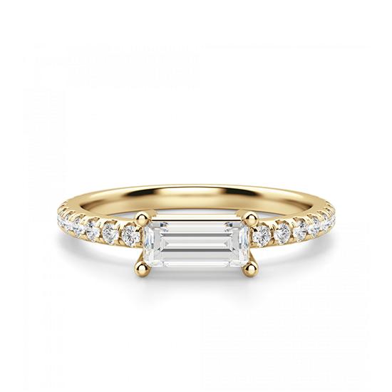 Горизонтальное кольцо с бриллиантом эмеральд, Больше Изображение 1