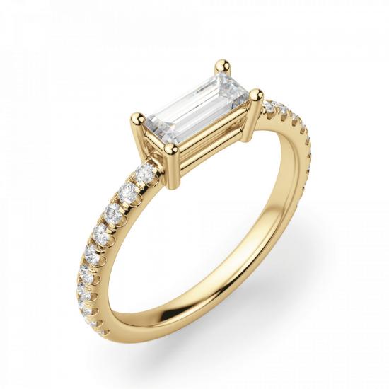 Горизонтальное кольцо с бриллиантом эмеральд,  Больше Изображение 3