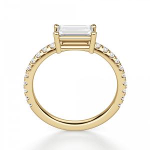 Горизонтальное кольцо с бриллиантом эмеральд - Фото 1