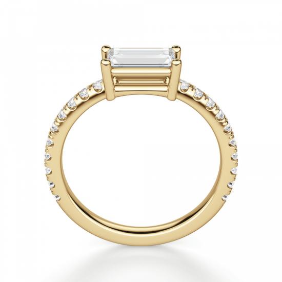 Горизонтальное кольцо с бриллиантом эмеральд,  Больше Изображение 2