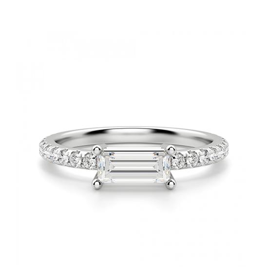 Тонкое кольцо с бриллиантом эмеральд, Больше Изображение 1