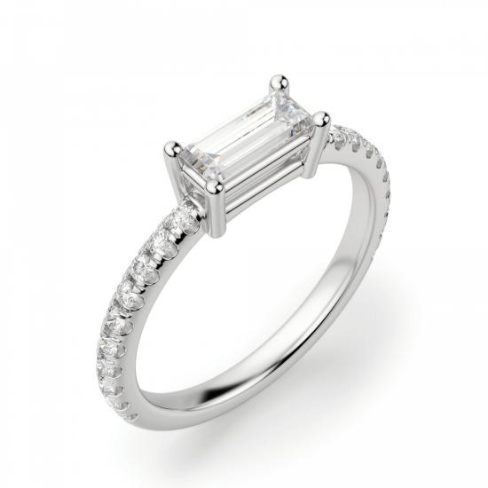 Тонкое кольцо с бриллиантом эмеральд,  Больше Изображение 3