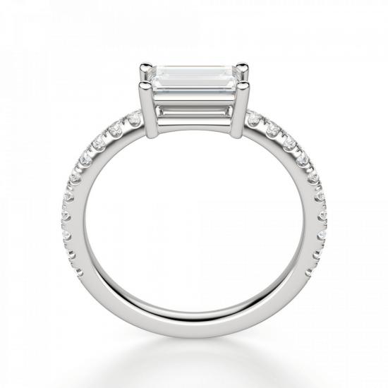 Тонкое кольцо с бриллиантом эмеральд,  Больше Изображение 2