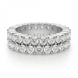 Кольцо двойная дорожка с бриллиантами по кругу