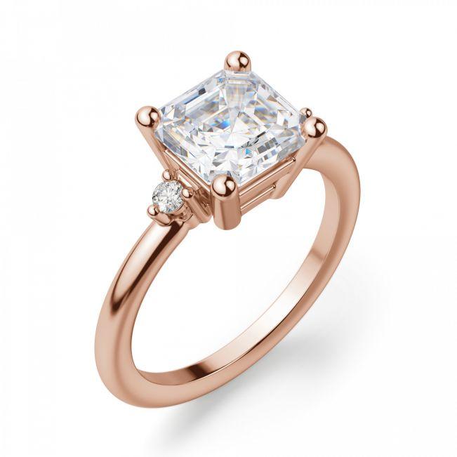 Кольцо с бриллиантом «ашер» из золота