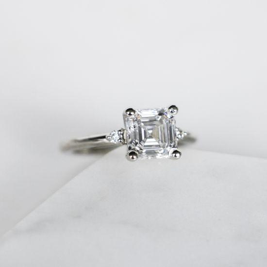 Кольцо с бриллиантом «ашер»,  Больше Изображение 6