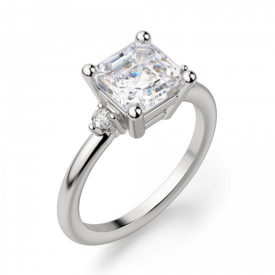 Кольцо с бриллиантом «ашер»,  Больше Изображение 3
