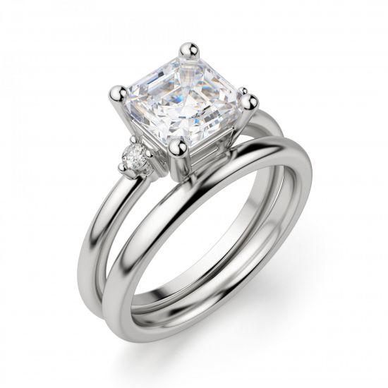 Кольцо с бриллиантом «ашер»,  Больше Изображение 4