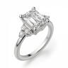 Кольцо с бриллиантом эмеральд и 3 бриллиантами по бокам, Изображение 2