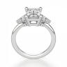 Кольцо с бриллиантом эмеральд и 3 бриллиантами по бокам, Изображение 3