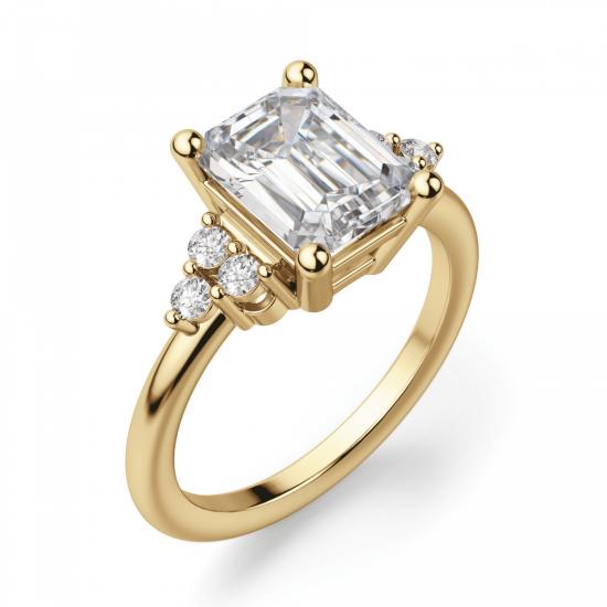 Кольцо из золота с бриллиантом эмеральд в центре,  Больше Изображение 2