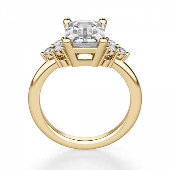 Кольцо из золота с бриллиантом эмеральд в центре,  Больше Изображение 3