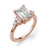 Кольцо с бриллиантом эмеральд и боковыми бриллиантами, Изображение 2