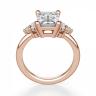 Кольцо с бриллиантом эмеральд и боковыми бриллиантами, Изображение 3
