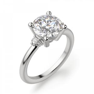 Кольцо с 3 круглыми бриллиантами - Фото 2