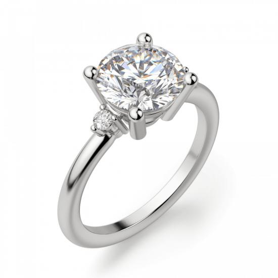 Кольцо с 3 круглыми бриллиантами,  Больше Изображение 3