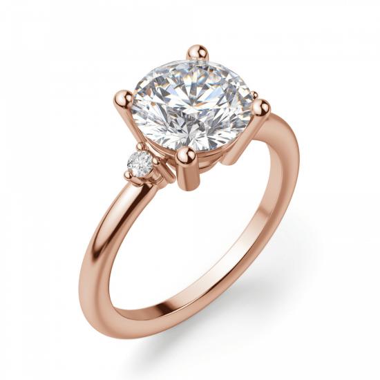 Кольцо с круглыми центральным и боковыми бриллиантами,  Больше Изображение 3
