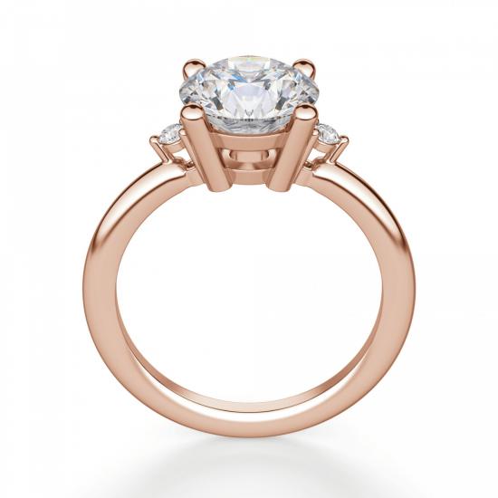 Кольцо с круглыми центральным и боковыми бриллиантами,  Больше Изображение 2