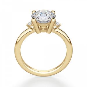 Кольцо с центральным и боковыми бриллиантами