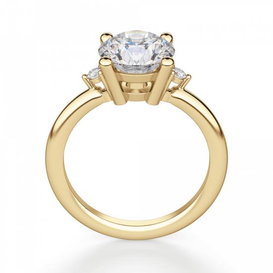 Кольцо с центральным и боковыми бриллиантами,  Больше Изображение 2
