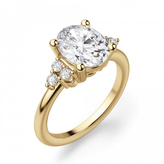Кольцо из золота с овальным бриллиантом и 6 боковыми,  Больше Изображение 3