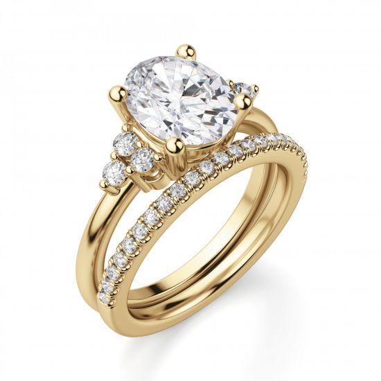 Кольцо из золота с овальным бриллиантом и 6 боковыми,  Больше Изображение 4