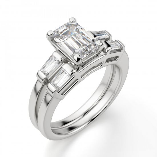 Кольцо с прямоугольным бриллиантом в центре и боковыми багетами,  Больше Изображение 4