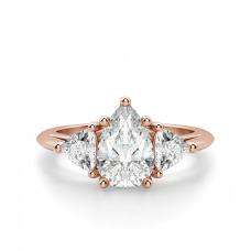 Кольцо с бриллиантом капля и триллионами бриллиантами