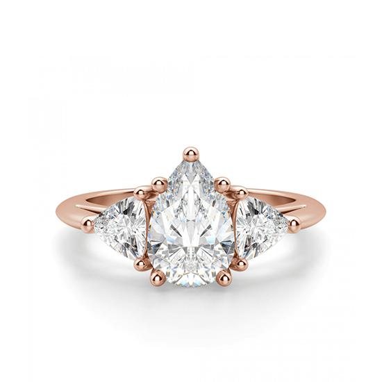 Кольцо с бриллиантом капля и триллионами бриллиантами, Больше Изображение 1