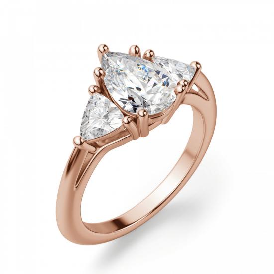 Кольцо с бриллиантом капля и триллионами бриллиантами,  Больше Изображение 3