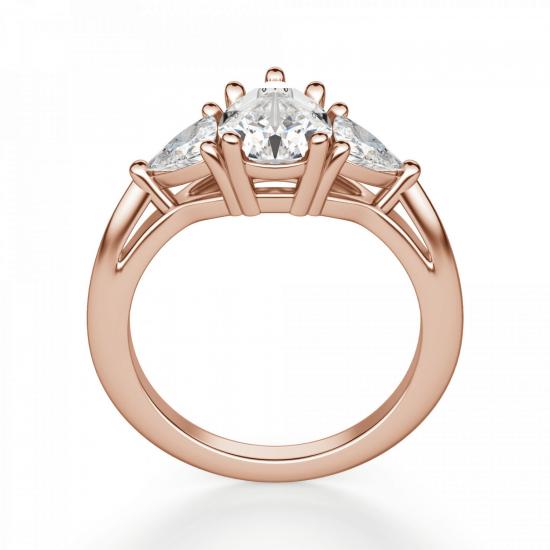Кольцо с бриллиантом капля и триллионами бриллиантами,  Больше Изображение 2
