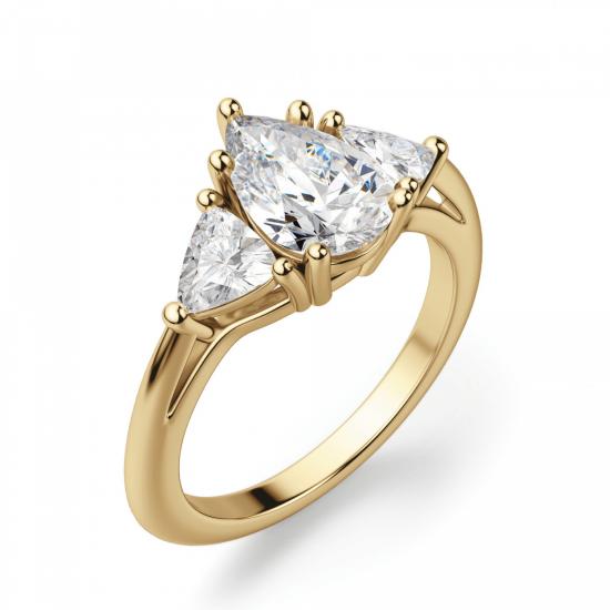 Кольцо с бриллиантом Груша и триллионами,  Больше Изображение 3