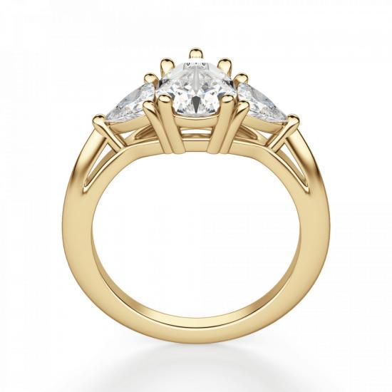 Кольцо с бриллиантом Груша и триллионами,  Больше Изображение 2