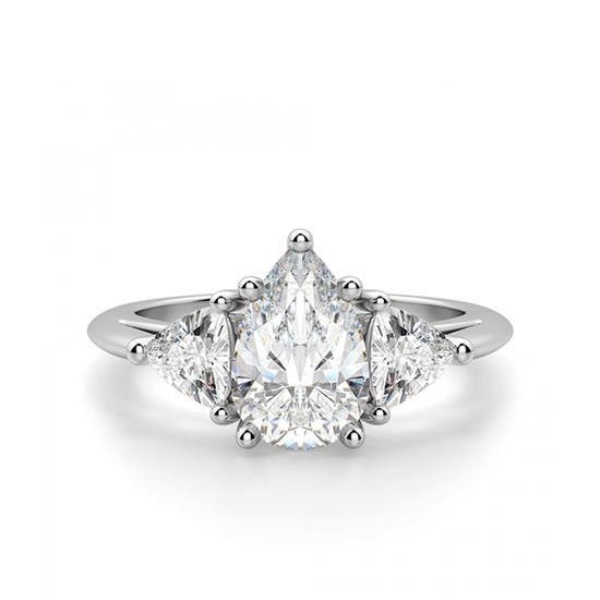 Кольцо с 3 бриллиантами Груша и триллионы, Больше Изображение 1