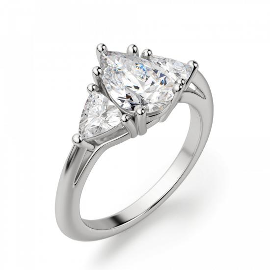 Кольцо с 3 бриллиантами Груша и триллионы,  Больше Изображение 3