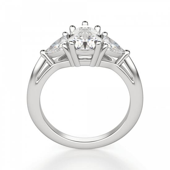 Кольцо с 3 бриллиантами Груша и триллионы,  Больше Изображение 2