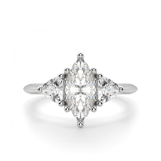 Кольцо с бриллиантом Маркиз из белого золота 750 пробы, Больше Изображение 1