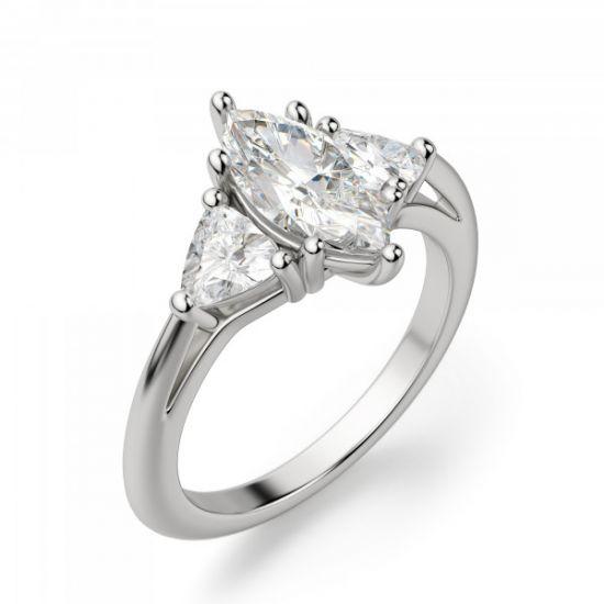 Кольцо с бриллиантом Маркиз из белого золота 750 пробы,  Больше Изображение 2