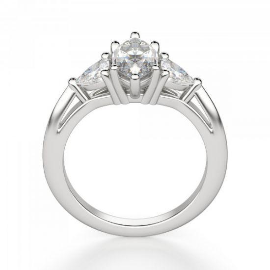 Кольцо с бриллиантом Маркиз из белого золота 750 пробы,  Больше Изображение 3