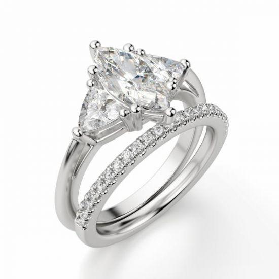 Кольцо с бриллиантом Маркиз из белого золота 750 пробы,  Больше Изображение 4