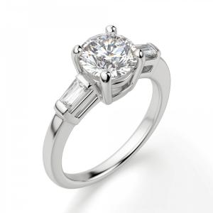 Кольцо с круглым бриллиантом с багетами - Фото 2