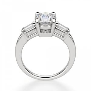Кольцо с круглым бриллиантом с багетами - Фото 1