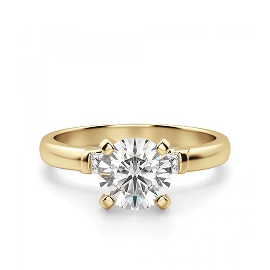 Кольцо с круглым бриллиантом и 2 боковыми, Больше Изображение 1