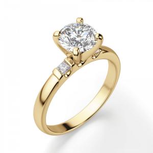 Кольцо с круглым бриллиантом и 2 боковыми - Фото 2