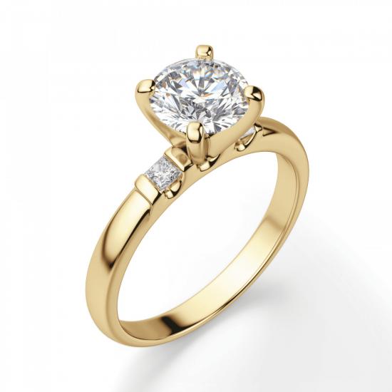 Кольцо с круглым бриллиантом и 2 боковыми,  Больше Изображение 3